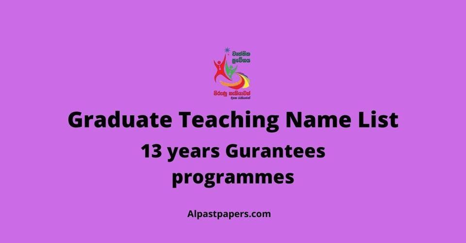 Graduate Teaching Name List