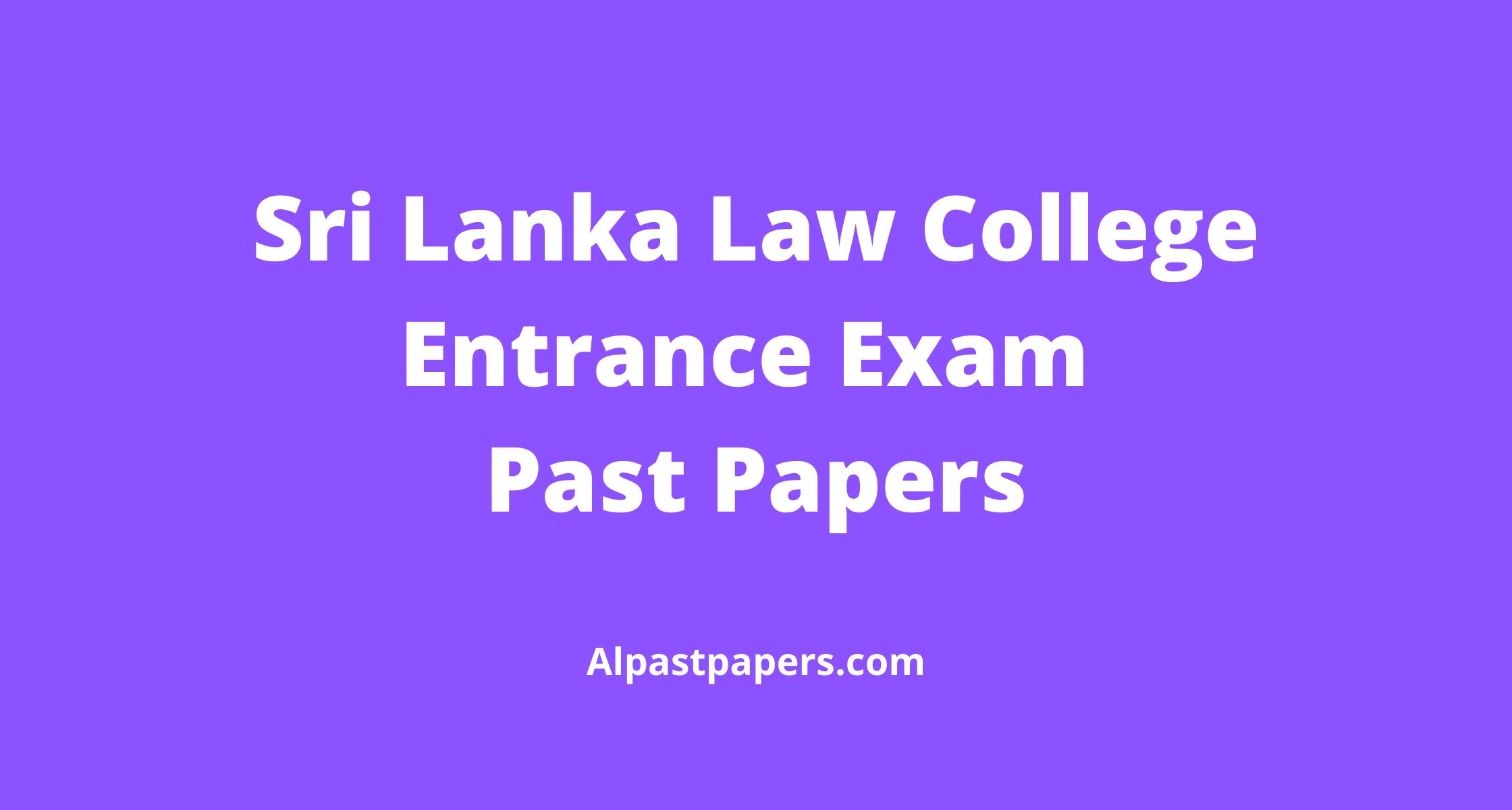 Sri lanka Law College Entrance exam past paper