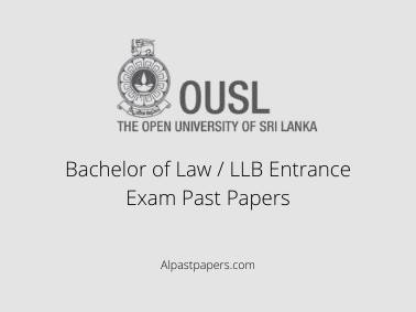Bachelor of Law / LLB Entrance Exam Past Papers