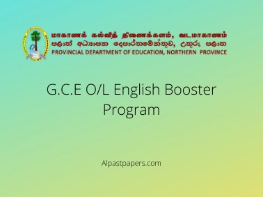G.C.E O/L Northern Province English Booster Program
