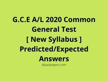 A/L 2020 Common General Test