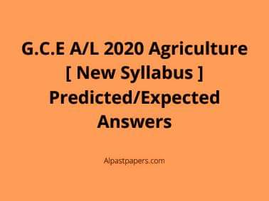 Agriculture 2020 Predicted/Expected MCQ Answers
