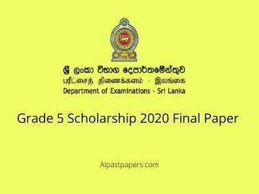 Grade 5 Scholarship 2020 Final Paper