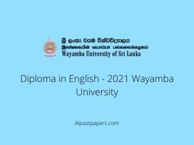 Diploma in English - 2021 Wayamba University