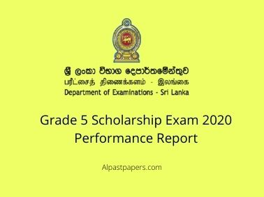 Grade 5 Scholarship Exam 2020 Performance Report