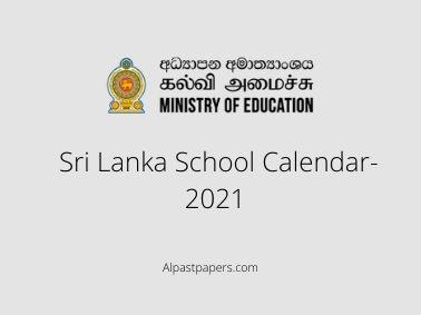 Sri Lanka School Calendar-2021