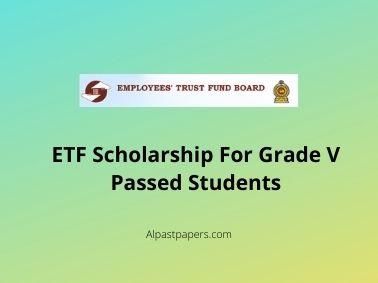 ETF Scholarship For Grade V Passed Students