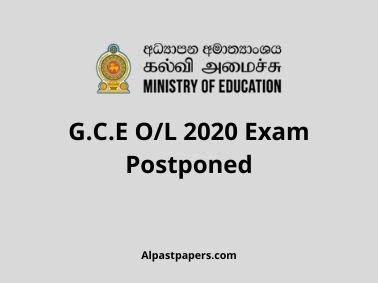 G.C.E O/L 2020 Exam Postponed