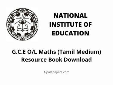 G.C.E O/L Maths (Tamil Medium) Resource Book Download