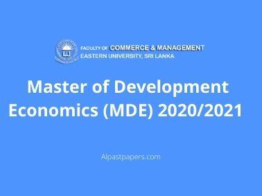 Master of Development Economics (MDE) 2020/2021