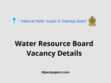 Water Resource Board Vacancy Details