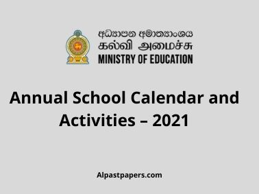 Annual School Calendar and Activities – 2021