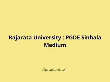 Rajarata University _ PGDE Sinhala Medium