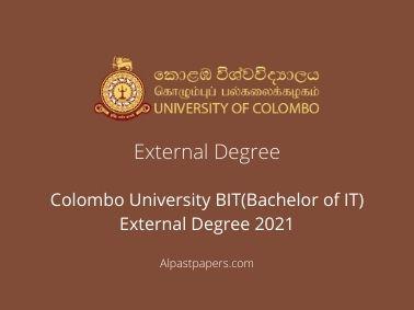 Colombo University BIT(Bachelor of IT) External Degree 2021