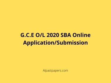 GCE OL 2020 SBA Online Application Submission
