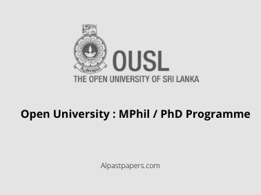 Open University : MPhil / PhD Programme