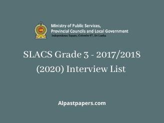 SLACS Grade 3 - 2017/2018 (2020) Interview List