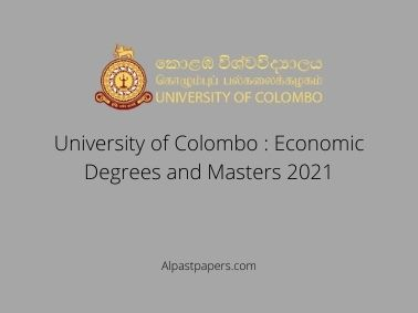 University of Colombo : Economic Degrees and Masters 2021