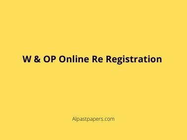 W & OP Online Re Registration