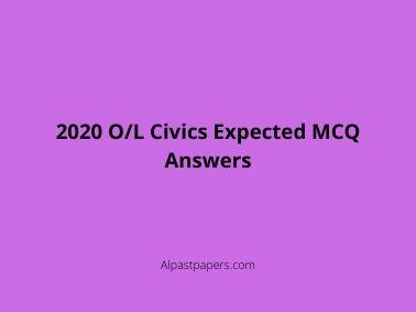 2020 O/L Civics Expected MCQ Answers