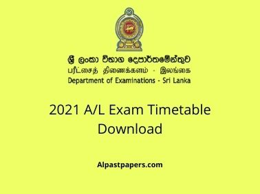 2021 A/L Exam Timetable Download