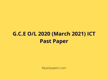 G.C.E O/L 2020 (March 2021) ICT Past Paper