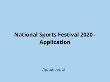 National Sports Festival 2020 - Application