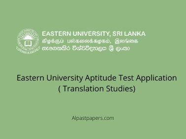 Eastern University Aptitude Test Application ( Translation Studies)