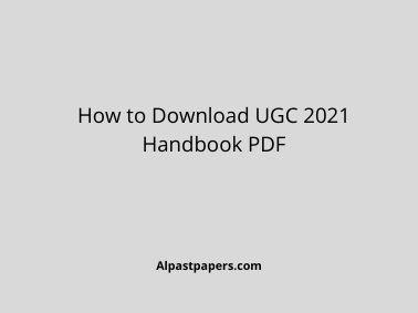 How to Download UGC 2021 Handbook PDF