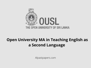Open University MA in Teaching English as a Second Language