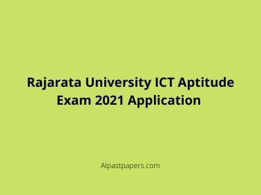 Rajarata University ICT Aptitude Exam 2021 Application