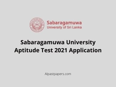 Sabaragamuwa University Aptitude Test 2021 Application