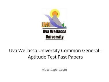 Uva Wellassa University Common General - Aptitude Test Past Papers