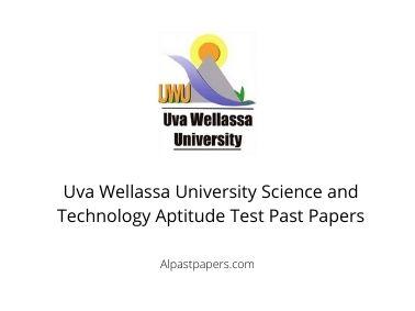 Uva Wellassa University Science and Technology Aptitude Test Past Papers