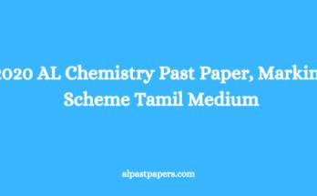 2020 AL Chemistry Past Paper, Marking Scheme Tamil Medium