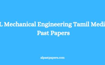 AL Mechanical Engineering Tamil Medium Past Papers