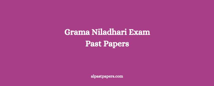 Grama Niladhari Exam Past Papers Download