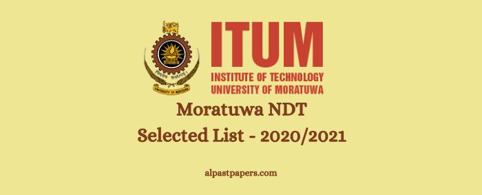 Moratuwa NDT Selected List - 20202021