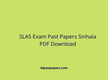SLAS Exam Past Papers Sinhala PDF Download
