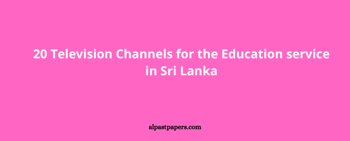 20 Television Channels for the Education service in Sri Lanka