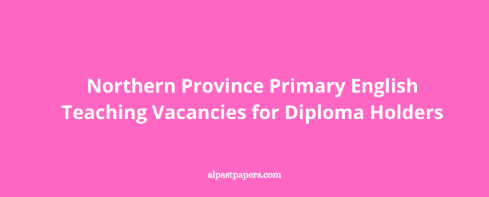 Northern Province Primary English Teaching Vacancies for Diploma Holders