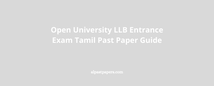 Open University LLB Entrance Exam Tamil Past Paper Guide