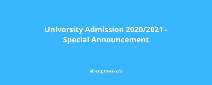 University Admission 20202021 - Special Announcement
