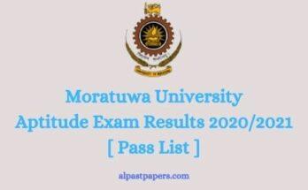 Moratuwa Aptitude test results 2021 pass list