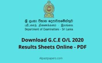 G.C.E OL 2020 Exam Results Sheet Download