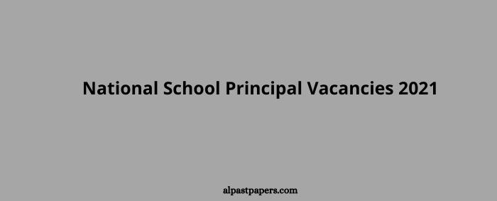 National School Principal Vacancies 2021