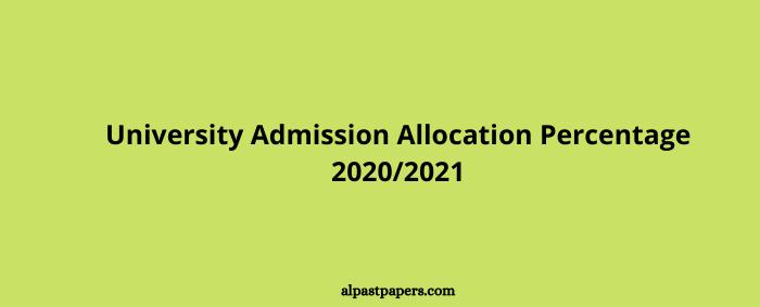 University Admission Allocation Percentage 20202021